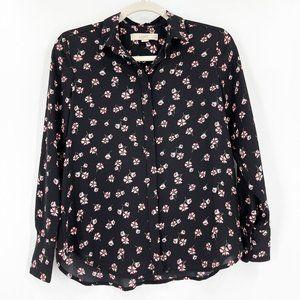LOFT Button Up Shirt Blouse Black Pink Floral XSP